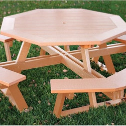 Eagle One - Eagle One Octagon All Greenwood Picnic Table - C3559OBLK - Shop for Tables from Hayneedle.com! Fire up the grill and invite your family and all your friends there's room for a major backyard barbecue around the Eagle One Octagon All Greenwood Picnic Table. This generously sized octagonal picnic table is available in multiple dual-tone finishes each crafted with heavy-duty GREENWOOD recycled plastic lumber made from milk jugs. The material requires no painting contains no harmful contaminants and thanks to a dura-membrane exo-skin resists impact scratches graffiti mold mildew and fungal growth. The whole unit is easy to clean with soap and water. Incorporated bench seats are ergonomically designed and the piece is fastened with corrosion-resistant stainless steel. Weighs 400 lbs.Additional Information: Greenwood LumberMade in the USAWon't crack split rot or splinterResists insects graffiti and is easy to clean - rinse with soap and waterColor infused - no need to paint or stainHigh durability - difficult to dent and scratchConstructed using corrosion-resistant stainless steel hardwareWon't yield to elemental distress no matter the climateWon't contaminate ground soil or water - earth-friendlyDesigned for transitional use - indoor or outdoorAbout Eagle One Pool FurnitureEagle One Products has designed and manufactured aesthetically focused eco-friendly products for use on golf courses resorts hotels and restaurants for close to 20 years. Built to last with environmentally sound Greenwood Lumber made from recycled plastic bottles Eagle One products resist damage even in the harshest conditions - intense sunlight rain snow and chemical exposure. Eagle One furniture retains the look & feel of authentic wood season after season.Recognized as a leader and pioneer for introducing recycled plastic lumber products into the golf industry Eagle One has extensive experience in the design and manufacture recycled plastic products. They continue to innovate in the area