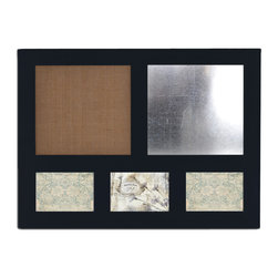 Enchante Accessories Inc - Distressed Wood Magnetic Steel Message Board & Burlap Bulletin Board (Black) - This message board features a distressed wooden framed burlap board / chalkboard combination, plus three openings for Photos. The other option is a Chalk Board and steel board combination.