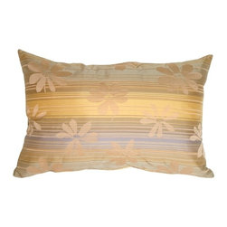 Pillow Decor - Pillow Decor - Beige Floral on Stripes Rectangular Decorative Pillow - Soft, muted neutral horizontal stripes overlaid by large flowers create this casual, elegant pillow. A great accent pillow to coordinate with pale blonde woods in your furniture or flooring. These pillows mix and match easily with the others in this series.