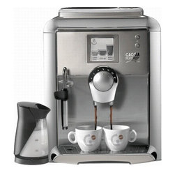 "Gaggia - Gaggia Platinum Vision w/Milk Island Fully Automatic Espresso Machine - Touch Screen Features:   Individual Beverage Settings for Espresso, Coffee, and/or Long Coffee    Time/Date Settings   Program your display to read the way you'd like it- choose from 13 languages, and adjust the contrast of the display to be lighter or darker.   Sound settings"" turn the sound on/off. If on, it will beep with every touch of the screen and when it is ready for use.   Cup warmer"" 3 options: always on, always off, off while in stand by mode.   Water settings include"" Rinse on/off, water filter on/off, water hardness 1-4 (machine comes with a test strip and instructions)   Counting the cups brewed   Cleaning cycle"" In this setting, the machine asks if you've added the cleaning tablet before you run it.   Descale cycle"" Before running, the machine asks if you'd like to run the cycle in case you've selected it in error.   Lock display"" an option given to allow the owner to clean the menu screen without accidentally selecting a beverage.One 1300-watt boiler that assures Rapid SteamStainless steel lined boilerEspresso Plus SystemDigital Touch Screen with programming information and alertsStainless Steel front panelIncluded Gaggia Milk Island automatically froths and steams milkElectronic height-adjustable cup trayCoffee dosage from 7-10.5 gramsRemovable 57-oz water reservoirCeramic burr grinder with adjustable settings8.8 oz sealable bean hopperRemovable brew groupPannarello wand for frothing and steaming15 bar pumpActively heated cup warmer holds four demitasse cupsEight language display choices including English, Italian, German, French, and Spanish Includes: Milk Island, Aqua Prima Water Filter, Water Hardness Test Strip and Brew Group Lubricant. Dimensions: 14.6 H x 12.6 W x 16.4 D.  1-Year Warranty."