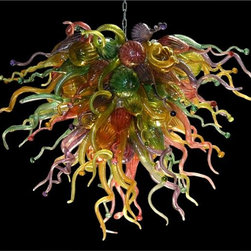 Belle Meade Hot Glass - Mardi Gras Chandelier - This is a high-energy, imaginative work of art! This chandelier is an explosive rainbow of colors: Ruby, Gold Topaz, Emerald, Lime and Amethyst. The individually hand blown glass pieces are a mixture of shapes found in nature: Pods, Horns and Gourds (see additional photo #2). Note- This is a representational item that can be commissioned. These exquisite designs are very diverse and can be custom made to fit any project. Other colors, sizes, and shapes are available so please call for more details. Allow us to help turn your vision into a reality. Note- This chandelier is lit from within the armature by easily replaceable 75 watt halogen bayonet bulbs. The lighting system is made from UL listed parts. The armature is shaped appropriate to the chandelier. Note- These chandeliers are suspended by a thin, high strength cable, the length of which must be specified when ordering. The weight for these chandeliers averages 30 pounds per 50 pieces. Due to the many different styles and types available, a ceiling canopy is not provided but can easily be obtained through your electrician. Note- If this item will be viewed from above, such as in a stairwell, the top will need additional pieces covering the armature at additional cost. Please call us for a price quote and specify this when ordering.  LED and Compact Fluorescent lighting are both available. Call for details.  Please note that the price listed pertains to a fixture that will appear very similar to the light shown in the featured photograph and as outlined in the accompanying description.  Virtually all of our artisan crafted fixtures can be customized regarding size, shape, and / or color(s).  Please call for details.