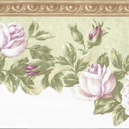 York Wallcoverings - Brown Floral Wallpaper Border - Wallpaper borders bring color, character and detail to a room with exciting new look for your walls - easier and quicker than ever.