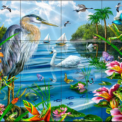 The Tile Mural Store (USA) - Tile Mural - Blue Heron & Friends - Kitchen Backsplash Ideas - This beautiful artwork by Lori Schory has been digitally reproduced for tiles and depicts swans, butterflies, sailboats, frogs and fish.  Images of waterfowl on tiles are great to use as a part of your kitchen backsplash tile project or your tub and shower surround bathroom tile project. Pictures of egrets on tile, images of herons on tile and decorative tiles with ducks and geese make a great kitchen backsplash idea and are excellent to use in the bathroom too for your shower tile project. Consider a tile mural of water fowl for any room in your home where you want to add interesting wall tile.