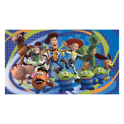 RoomMates Peel & Stick - Toy Story 3 Prepasted Wall Mural - Toy story is back and better than ever! This toy story 3 XL wall mural is fun! XL murals are applied easily, just like wallpaper, and make HUGE statements on walls. This design features all your favorite characters, like Buzz, Woody, Jessie, and more. It's the perfect compliment to any toy story fan's bedroom! Pairs perfectly with any of the other coordinates in our Toy Story collection, including fun wallpaper, borders, and wall decals. To bring this awesome mural to life, simply dip each prepasted strip in water and smooth it out on the surface. Each of the seven panels are prepasted and water-activated, and will fit together without the need for overlapping or additional paste. Please note that XL wallpaper murals from RoomMates remove without damage to your walls, but are not repositionable after initial application.