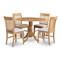 "East West Furniture - 5Pc Dublin Dining Table and 4 Norfolk Chairs with Microfiber Seat in Oak - 5Pc Dublin Kitchen Round Table with 2 Drop Leaves and 4 Norfolk Slatted-Back Chairs with Microfiber Upholstered Seat in Oak; The Dublin kitchen sets are of modest size, which is perfect for smaller dining spaces.; Made from Asian solid wood, it is finished with a light-gloss oak finish.; The table & chairs match beautifully in any traditional kitchen or dining room.; Supported by a single pedestal, this round table also features two drop leaves.; Its size makes the perfect dinette set for first-time buyers or smaller families.; The chairs feature a slight curve with a wide inner slat for added support; Weight: 108 lbs; Dimensions: Table: 42""L x 42""W x 29""H; Chair: 18""L x 17""W x 36.5""H"
