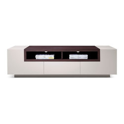 JNM Furniture - TV002 Modern TV Stand in Two-Tone Finish , Light Gray High Gloss - Tv Stand TV002 in Modern Style