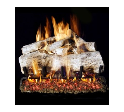Real Fyre Mountain Birch Vented Gas Log Set - Bring the uniquely beautiful look of fresh-cut white birch logs to your fireplace with the Real Fyre Mountain Birch Vented Gas Log Set brings a unique degree of realism and naturalism to your indoor gas fireplace. This hand-painted refractory ceramic log set is modeled from real wood samples, with realism, texture, and nuance straight from nature. They burn efficiently while protecting natural resources and reducing pollution, providing real radiant heat for your home. Each is supported by steel rods in the center, and artfully placed about a steel burner and powder-coated grate. Choose 18 or 24 inches to fit your standard direct vent fireplace Choose propane or natural gas power source Silica sand and platinum embers included with every model Optional pilot kit and remote control Manufacturer's lifetime warranty included Heating Output Propane 18-inch: 45,000 BTU Propane 24-inch: 65,000 BTU Natural gas 18-inch: 70,000 BTU Natural gas 24-inch: 90,000 BTU Note: It is recommended that you use a professional installer to ensure the safety of the exhaust system. A licensed contractor should be contacted for installation of all products involving gas lines. About Real FyreReal Fyre understands more about the amazing things that happen when flame and good food meet. For the last 70 years, they've set out to create the singularly best way to cook food outdoors, using the highest-quality materials, innovative design, and an absolutely relentless pursuit of perfection. With a complete line of luxury-grade grills, burners, accessories, and built-in grill island components, Real Fyre is ready to turn your home into the world's best outdoor kitchen.