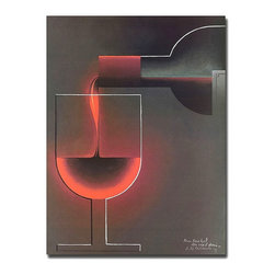"Trademark Art - ""Red Wine"" - Giclee Repoduction Canvas Wall A - A great wall accent for anywhere in your home, this vintage giclee print brings a bold, graphic presence and classic style. It depicts red wine slowly pouring into a glass. A high quality reproduction that's also a hit with wine enthusiasts - a great gift idea! Giclee on canvas art. Ready to hang. Traditional style. Subject: Vintage. Format: Vertical. Size: Medium. Canvas material. 18 in. W x 24 in. H (4 lbs.)Giclee is an advanced printmaking process for creating high quality fine art reproductions. The attainable excellence that Giclee printmaking affords makes the reproduction virtually indistinguishable from the original artwork. The result is wide acceptance of Giclees by galleries, museums and private collectors."