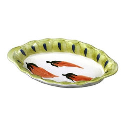 La Pavoni - Hand Painted Italian Ceramics Medium Oval Serving Bowl - Glazed top and bottom. Can be used for serving or display. All are FDA food safe approved. Hand wash is recommended. 1-Year warranty. 10.5 in. Dia.