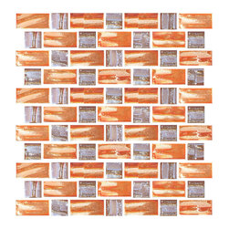 Susan Jablon Mosaics - Retro Orange Iridescent Recycled Glass Tile - This 100% recycled glass tile has a vibrant retro orange and gold hue with an iridescent shimmer that glistens from the textural surface. The dimensional criss crossed lines at various angles and thicknesses make each of the glass tiles unique. Use them installed in full sheets or blend them in the mosaic tile designer for that one of a kind look. Eco-friendly never looked so good! Certified by the U.S. Green Building Council for L.E.E.D. Projects, the beauty of these recycled glass tiles prove you don't need to sacrifice to be sustainable. They are suitable for a wide range of uses, indoors and outdoors, in dry or wet locations. A custom mosaic design using these tiles can make a gorgeous, responsible, design statement in your pool, kitchen bathroom, dining room – anywhere! It is very easy to install as it comes by the square foot on mesh and it is very easy to clean! About a decade ago, Susan Jablon re-ignited her life-long passion for mosaics and has built a customer-focused, artist-driven, business offering you the very best in glass and decorative tiles and mosaics. We are a glass tile store committed to excellence both personally and professionally. With lines of 100% SCS Qualified recycled tile, 12 colors and 6 shapes of mirror, semi precious turquoise stones from Arizona mines, to color changing dichroic glass. Stainless steel tiles in 8mm and 4mm and 12 designs within each, and anything you can dream of. Please note that the images shown are actual photographs of the tiles however, colors may vary due to the calibration of each individual monitor. Ordering samples of the tiles to verify color is strongly recommended.