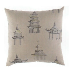 "Canaan - 24"" x 24"" Palacio Pagoda Asian Architecture Design Pattern Fabric Throw Pillow - 24"" x 24"" Palacio pagoda Asian architecture design print pattern fabric throw pillow with a feather/down insert and zippered removable cover. These pillows feature a zippered removable 24"" x 24"" cover with a feather/down insert. Measures 24"" x 24"". These are custom made in the U.S.A and take 4-6 weeks lead time for production."
