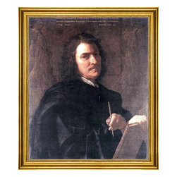 """Nicolas Poussin-16""""x20"""" Framed Canvas - 16"""" x 20"""" Nicolas Poussin Self-Portrait framed premium canvas print reproduced to meet museum quality standards. Our museum quality canvas prints are produced using high-precision print technology for a more accurate reproduction printed on high quality canvas with fade-resistant, archival inks. Our progressive business model allows us to offer works of art to you at the best wholesale pricing, significantly less than art gallery prices, affordable to all. This artwork is hand stretched onto wooden stretcher bars, then mounted into our 3"""" wide gold finish frame with black panel by one of our expert framers. Our framed canvas print comes with hardware, ready to hang on your wall.  We present a comprehensive collection of exceptional canvas art reproductions by Nicolas Poussin."""