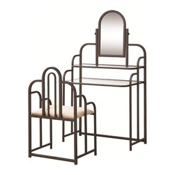 Adarn Inc - 2 Piece Traditional Metal Vanity Set w/ 2 Shelves Mirror Plush Upholstered Seat - Add this vanity to your home for the idea place to get ready in the mornings in lovely traditional style. Two shelves accompany the mirror of this vanity for the perfect place to store your beauty products. The stools plush upholstered seat makes it easy to relax as you get ready for your day. The strong arches of the vanity and stool mimic the city scape for a lovely addition to your home.