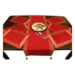 Banarsi Designs - Hand Embroidered 7-Piece Placemat & Table Runner Set, Scarlet Red - Discover our beautiful, artistic, and luxurious Hand Embroidered 7-Piece Placemat and Table Runner Set from our exclusive Banarsi Designs collection.