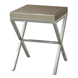 Bronze Mirror Lexia Modern Side Table - *Bronze Mirror Faceted On All Sides With A Stainless Steel Base.