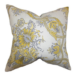 PILLOW COLLECTION INC - Laelia Floral Feather and Down Filled Throw Pillow Yellow - This cheerful and sweet throw pillow is an ideal decor piece to add to your home. Adorned with a floral pattern in shades of yellow,gray and white. Brighten up your sofa,bed or couch with this square pillow.