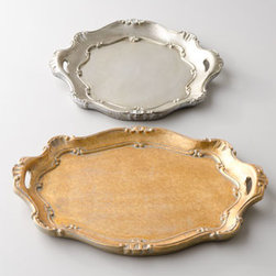 """Horchow - Metallic """"Baroque"""" Charger Plates - Hand-painted charger plates with convenient side handles add a decidedly finishing touch to your tablescapes. Made of wood composite. Oval charger plate, 13"""" x 18.5"""". Round charger plate, 14""""Dia. Handcrafted in Italy."""