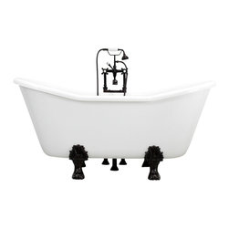 """The Tub Studio - Anastasia 67"""" White acrylic Double Slipper Clawfoot Tub Package with Medici Feet - Product Details"""