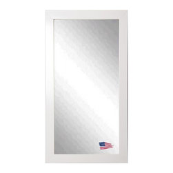 Rayne Mirrors - American Made Glossy White Full Length Mirror - Hang or lean this simply elegant white tall mirror on any empty wall as a stylish accent piece that fits into any decor.  Rayne's American Made standard of quality includes; metal reinforced frame corner  support, both vertical and horizontal hanging hardware installed and a manufacturers warranty.