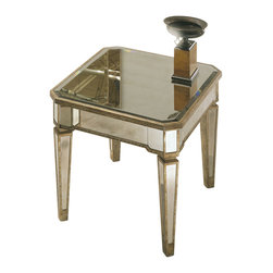 Bassett Mirror - Borghese End Table - Handworked and beveled antique mirror over veneers and hardwood solids and antique silver finish. All mirror edges are encapsulated in a wood frame.