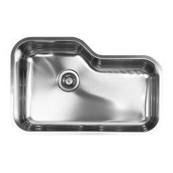"Ukinox - Ukinox DX760 Undermount Single Bowl Stainless Steel Kitchen Sink - Ukinox's high-end stainless steel sinks are known for their superior functionality, durability, and ability to delight the designer in all of us. This Ukinox undermount sink breaks away from the traditional square or rectangular bowl sink to bring some creativity to your kitchen. The stainless steel sink has a stylish shape that can accommodate almost any large bowl or pan. Features: Premium single bowl stainless steel kitchen sink. Fine quality sink bowl formed of 18 gauge Type 304 18/10 nickel bearing stainless steel. Sound absorbing pads and special paint applied to the underside of the sink to dampen sound. Made in Europe. Sinks include all basket strainers, mounting hardware and cut-out template. Standard 3-1/2"" drain opening compatible with most garbage disposal systems. Specifications: Total Product Length: 30 in. Total Product Width: 19.25 in. Sink Depth: 9 in. Sink Gauge: 18. Product Weight: 17 lbs. Material: Stainless Steel. Installation Type: Undermount. Number of Basins: Single Basin. cUPC Certified?: Yes."
