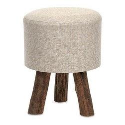 """IMAX - Williamson Ottomon - Small - Our Williamson ottoman features a woven jute covering and sturdy tanoak legs. Both handsome and versatile, use as a footrest, tray surface or for extra seating.  Item Dimensions: (14.75""""h x 11.75""""w x 11.75"""")"""