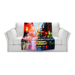 DiaNoche Designs - Throw Blanket Fleece - Faces of the City cxvi - Original Artwork printed to an ultra soft fleece Blanket for a unique look and feel of your living room couch or bedroom space.  DiaNoche Designs uses images from artists all over the world to create Illuminated art, Canvas Art, Sheets, Pillows, Duvets, Blankets and many other items that you can print to.  Every purchase supports an artist!