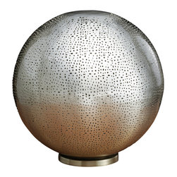 Artemano - Round Pierced Metal Table Lamp - The elaborate design of this round metal lamp creates a serene and romantic mood anywhere it appears. Handmade by skilled artisans, this lamp is made of intricately pierced nickel complimented by a simple round silhouette. A small table lamp that promises to create a big impact!