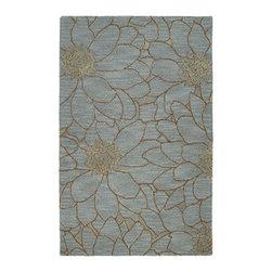 Zoe Blue Flower Hand Tufted Wool Rug (9'0 x 12'0) -