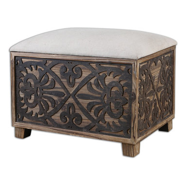 Uttermost - Abelardo Cushioned Small Bench - Add rustic charm to any room of your home with this cushioned bench. The lightly stained fir bench has a neutral linen seat to easily coordinate with a wide variety of color schemes.