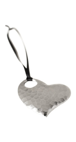 Native Trails - Copper Heart Ornament, Brushed Nickel Finish - A perfect token of your affection. Handmade by artisans, each heart-shaped ornament is as unique as the love it expresses. Tied with black ribbon, this elegant, enchanting ornament is handmade of recycled copper and plated with nickel for an elegant silver finish. Each heart will arrive in an organza bag ready for giving.