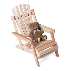 """Rustic Natural Cedar Furniture Junior Folding Adirondack Chair - Folding Adirondack Chair is hand-crafted from solid cedar and can be used indoors or outdoors by children as young as two. Since Northern White Cedar is known for its amazing durability this chair will be in your family for many years to come.This chair folds easily for storage or transport. For safety all corners of the chair are sanded so there are no sharp or rough edges. Its sturdy foundation creates a stable base to prevent tipping.About Rustic Natural Cedar Furniture Co.For over 30 years Rustic Natural Cedar Furniture Company has been manufacturing quality cedar products for the home and garden. Their broad variety of products includes bedroom sets tables and seating groups gliders rockers swings arbors and other garden products. These fine furnishings are handcrafted with care in Quebec and British Columbia and shipped worldwide for your enjoyment.About Cedar Log Furniture:There are a few properties that are unique to log furniture. All of our logs are small diameter cedar trees. Because we use the whole tree in our furnishings all logs will have cracks or checks. This is a natural phenomenon that is part of the drying process of logs. As our logs are dried for use in furniture the wood shrinks in length width and radially around the heart of the tree. As tension develops in the wood due to shrinkage the log splits to relieve tension. These splits or cracks are known as """"checks"""" in the log. All logs that contain the heart of the tree will develop lengthwise cracks or checks. The check will not go deeper than the heart; consequently the structural integrity of the log is compromised very little. The checks are natural and are part of the character of the log furniture.Additional Information:Our Northern Cedar natural and untreated is grown in the northeastern region of the U.S. We carefully select cedar trees growing in moist swampy woodlands. Cedar absorbs and loses moisture slowly which minimiz"""
