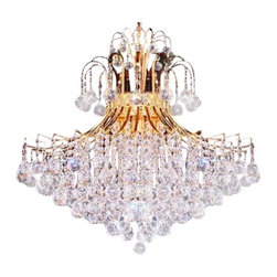 "The Gallery - French Empire Crystal Chandelier Chandeliers Lighting H30"" X W24"" - 100% CRYSTAL CHANDELIER, this chandelier is characteristic of the grand chandeliers which decorated the finest Chateaux and Palaces across Europe and reflects a time of class and elegance which is sure to lend a special atmosphere in every home. This item comes with 18 inches of chain. SIZE: H.30"" W.24"" 9 LIGHTS. Lightbulbs not included.Assembly Required."
