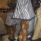 Oriental Girl Base with a Zebra Lamp Shade - Oriental girl with a zebra shade.. Great bookcase lamp!! $75 each