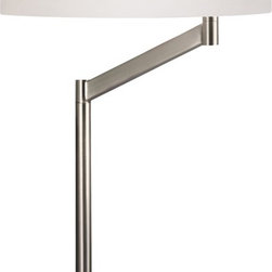 """Sonneman - Sonneman Perch Satin Nickel Desk Lamp - Add functional stylish light to work areas and more with the Perch adjustable desk lamp. From acclaimed designer Robert Sonneman this satin nickel desk lamp is ideal for work area reading or computer desk areas. It comes with a white cotton drum shade that rotates 350 degrees to direct light precisely where you need it. From Sonneman lighting. Satin nickel finish. White cotton shade. Sonneman desk lamp. Shade rotates 350 degrees. Takes one 150 watt bulb (not included). On/off turn switch. 23"""" high. 24 1/4"""" wide. 14"""" deep. Shade is 14"""" wide 5"""" high. Base is 8 1/2"""" wide.  Satin nickel finish.  White cotton shade.  Sonneman desk lamp.  Shade rotates 350 degrees.  Takes one 150 watt bulb (not included).  On/off turn switch.  23"""" high.  24 1/4"""" wide.  14"""" deep.  Shade is 14"""" wide 5"""" high.  Base is 8 1/2"""" wide."""