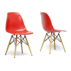 Wholesale Interiors - Azzo Red Plastic Mid-Century Modern Shell Chair (Set of 2) - Mid-century modern shell chair (side chair design)