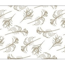 Casart coverings - Quill, White/Cinnamon Wallcoverings, White/Cinnamon, Small Roll (37 Sq Ft), Casa - Quill, light and feathery drifting airily across the ground, gives a modern take on classic design.