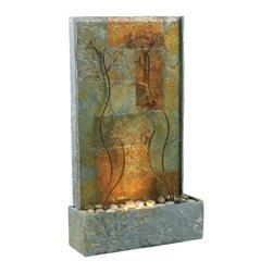 "Copper Vines Floor Fountain - Dimensions: 33""H x 19""W x 6""D"