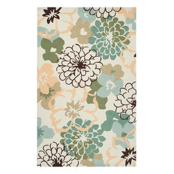 Surya - Surya Country & Floral Brentwood Ivory  Sage Green 5'x8' Rectangle Area Rug - The Brentwood Collection features a hand hooked construction of 1% polyester.  Made in China  these rugs range in design motifs from transitional to contemporary and are woven to inspire your d_cor.