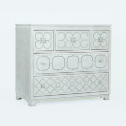 Pandora Chest - A classic chest of wooden drawers gets a makeover. The clean, white finish and metal geometric pattern across the drawer fronts add a modern twist to this vintage-style piece.