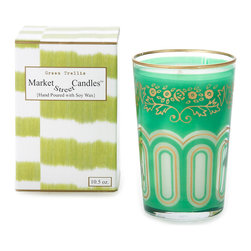 Market Street Candles - Green Trellis Moroccan Candle - Our signature imported Moroccan tea glass, hand poured with soy wax in the USA, is packaged in a decorative gift box, making it the perfect gift just as they are!