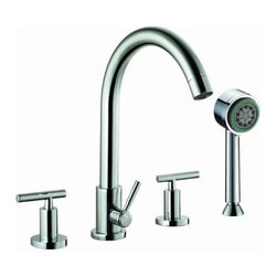 """Dawn - Dawn Tub Filler 4-Hole Tub Filler with Personal Handshower and Lever Handles - Brand Name: Dawn Collection: Tub Filler Material: Solid brass construction Description: 4-Hole Tub Filler with Personal Handshower and Lever Handles - Chrome supply lines: Flexible supply lines included Valve disk: Ceramic disk cartridges Outside Dimensions (L x W x H): 23"""" x 11-1/4"""" x 3-1/8"""" Weight: 10 lbs Certification: cUPC® ASME A112.18.1/CSA B125.1; NSF/ANSI 61 Manufacturer: Dawn Kitchen & Bath Products, Inc. is a California-based company that specializes in manufacturing quality kitchen and bath products, such as stainless steel sinks, faucets, showers, etc."""