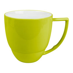 Waechtersbach - Uno Set of 4 Mugs Mint - Get a kick of color with your morning coffee. This set of four 12-ounce mugs with contoured handles is easy to grab and packs a nice graphic punch, as does the contrasting white interior. The mugs are made from porcelain, so they're dishwasher safe.