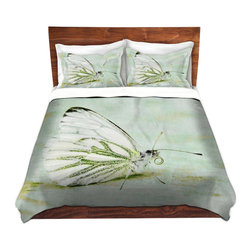 DiaNoche Designs - Duvet Cover Twill by Iris Lehnhardt - Butterfly - Lightweight and super soft brushed twill Duvet Cover sizes Twin, Queen, King.  This duvet is designed to wash upon arrival for maximum softness.   Each duvet starts by looming the fabric and cutting to the size ordered.  The Image is printed and your Duvet Cover is meticulously sewn together with ties in each corner and a concealed zip closure.  All in the USA!!  Poly top with a Cotton Poly underside.  Dye Sublimation printing permanently adheres the ink to the material for long life and durability. Printed top, cream colored bottom, Machine Washable, Product may vary slightly from image.
