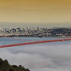 Magic Murals - Golden Gate Fog Panorama Wall Mural -- Self-Adhesive Wallpaper by MagicMurals - You see a full shot of the Golden Gate Bridge rising above the misty fog of the bay and a scenic view of all of San Francisco in this panoramic view.