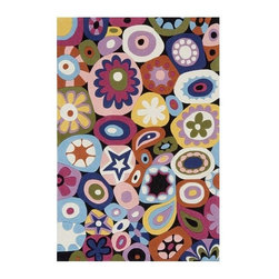 Momeni - Floral Hand-Tufted Mod-Acrylic Rug - Lil Mo Hipster LMT-5 (4.0 ft. x 6.0 ft. Rec - Choose Size: 4.0 ft. x 6.0 ft. Rectangle. Hand tufted. Mod-acrylic. Care InstructionThe ultra-hip elements are captured to make 'Lil Mo Hipster the ultimate 'tween collection. Comic book inspired waves, bold millifleur and edgy skaters adorn these hand-tufted mod-acrylic pieces. A funky use of color makes these the perfect complement to any up and coming hipster's decor!