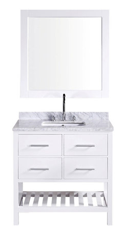 """Design Element - Design Element London 36"""" Single Sink Vanity Set w/ Open Bottom - White - The 36"""" London Vanity in White is elegantly constructed of solid hardwood. The white Carrara Marble counter top's classic beauty and contemporary styled cabinetry bring a sophisticated and clean look to any bathroom. Seated at the base of the ceramic sink is a chrome finished pop-up drain designed for easy one-touch draining. A white framed mirror is included. This beautiful vanity includes two drawers and two pull-down hinged panels with satin nickel hardware, plus additional open storage space at the bottom. The London Bathroom Vanity is designed as a centerpiece to awe-inspire the eye without sacrificing quality, functionality or durability."""