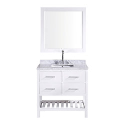 "Design Element - Design Element London 36"" Single Sink Vanity Set w/ Open Bottom - White - The 36"" London Vanity in White is elegantly constructed of solid hardwood. The white Carrara Marble counter top's classic beauty and contemporary styled cabinetry bring a sophisticated and clean look to any bathroom. Seated at the base of the ceramic sink is a chrome finished pop-up drain designed for easy one-touch draining. A white framed mirror is included. This beautiful vanity includes two drawers and two pull-down hinged panels with satin nickel hardware, plus additional open storage space at the bottom. The London Bathroom Vanity is designed as a centerpiece to awe-inspire the eye without sacrificing quality, functionality or durability."