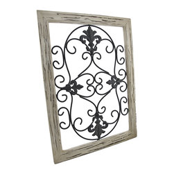 Zeckos - Distressed Wooden Tan Frame Wrought Iron Fleur de Lis Wall Decor 22 In. x 26 In. - This antique distressed fleur de lis wall decor speaks of a long glorious life on the Champs-Elysees. Now, this beautiful piece of black wrought iron art can be displayed in your own home. A single metal wall hanger on the reverse of the distressed tan wooden frame allows it to hang from a single nail or wall hook. The remarkable frame measures 22 inches tall, 16 inches wide, and 1 inch deep. This classic piece is an excellent cultural home accent with neutral colors that would look decidedly elegant in any setting.