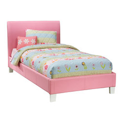 Standard Furniture - Standard Furniture Fantasia Upholstered Platform Bed in Pink - Twin - Upholstered Platform Bed in Pink belongs to Fantasia Collection by Standard Furniture Luxurious padded beds are upholstered in a smooth vinyl that comes in a choice of three colors, green, lavender and pink. Sizeable headboard allows space for decorative pillows. Green, lavender and pink finishes.  Upholstered Headboard (1), Upholstered Footboard w/ Rails (1)